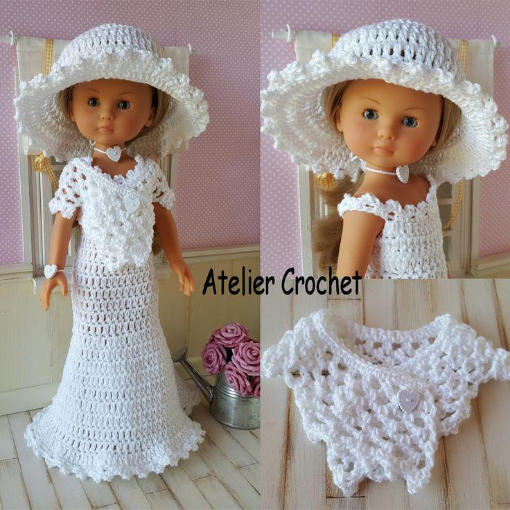 134- FICHE PATRON CROCHET Robe de mariée pour poupée Chérie de Corolle ou Paola Reina : Jeux, jouets par atelier-crochet