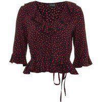 Womens Lips Print Frill Blouse - Navy, Navy