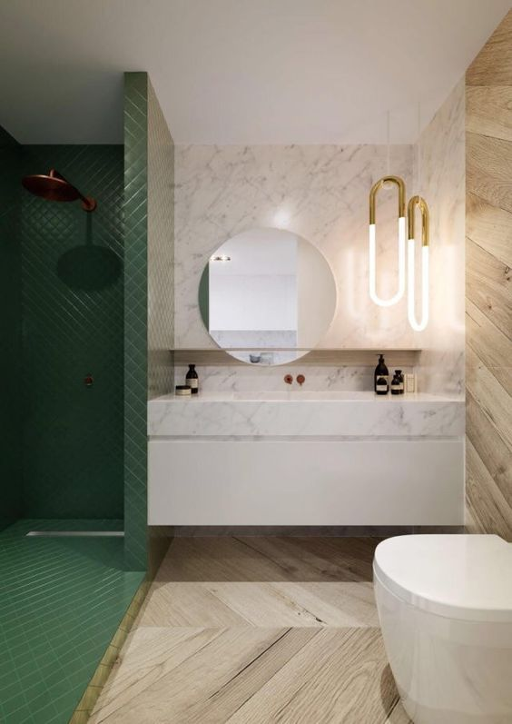 modern bath | floating bathroom vanity | large round mirror | green shower tile | neon lights | interior design | modern style | baño | diseño