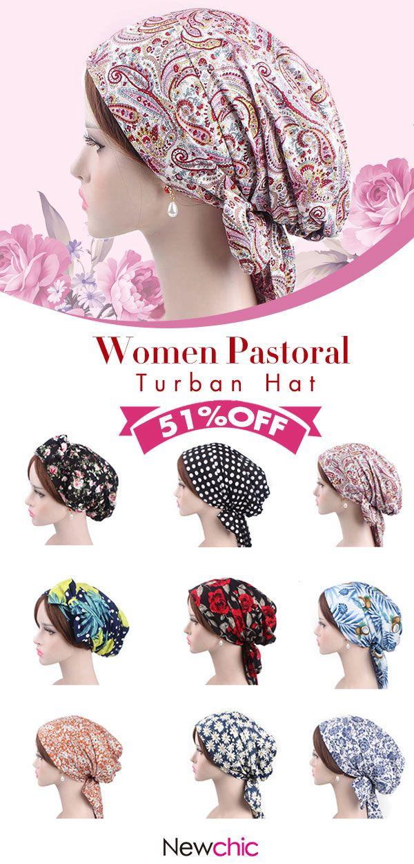 65b5123a9912 Women Pastoral Turban Hat Cotton Cool Floral Vintage Turban Gardening  Beanie Cap  print  hats  cap  turban