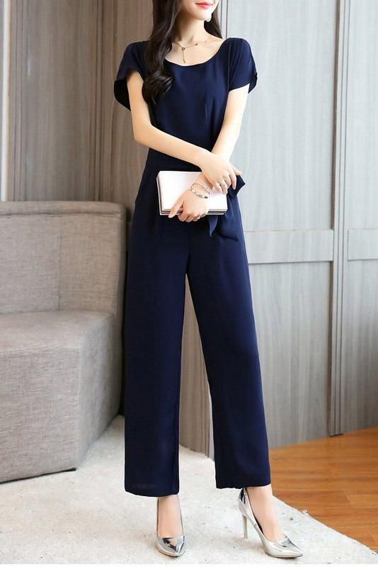 2fd84ee83256 Chicloth Elegant Bow Solid Jumpsuit-Chicloth