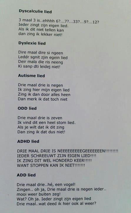 Dyslexie - dyscalculie - add - adhd - odd- lied