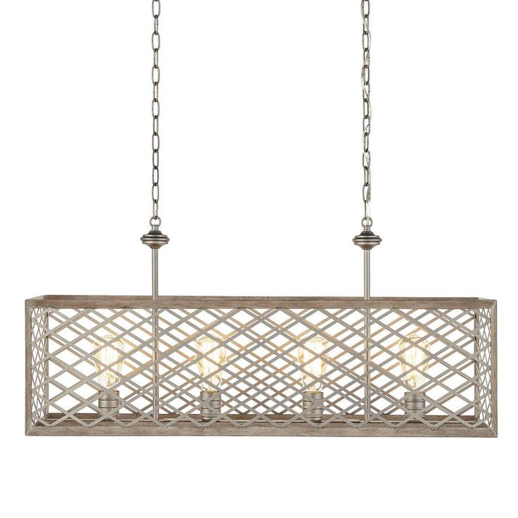 Home Decorators Collection 4-Light Gilded Pewter Linear Chandelier-7945HDC - The Home Depot