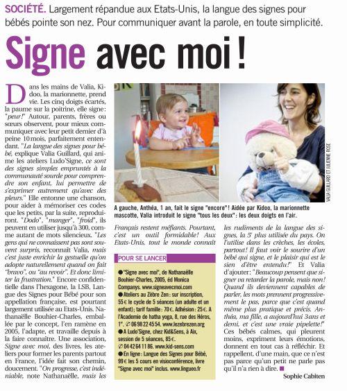 La langue des signe pour bébé dans Marseille l'Hebdo