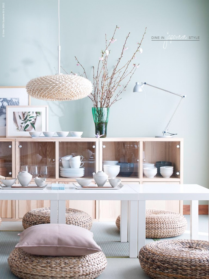 Combination of natural colours and materials with light blue painted walls