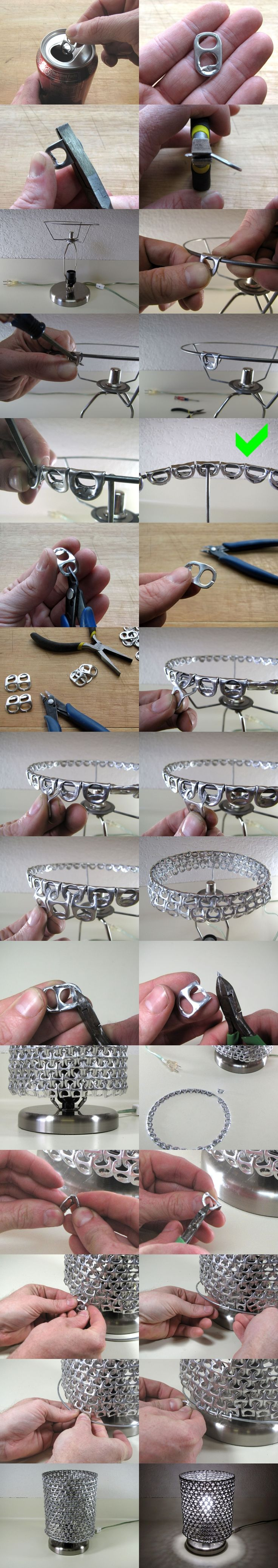 DIY Unique Lamp Shade From Ring Pulls--> http://wonderfuldiy.com/wonderful-diy-unique-lamp-shade-from-ring-pulls/