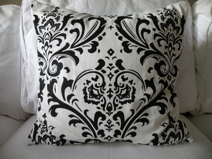 Black and White Damask Halloween Pillow Cover 18 Inch. For the front porch chair.