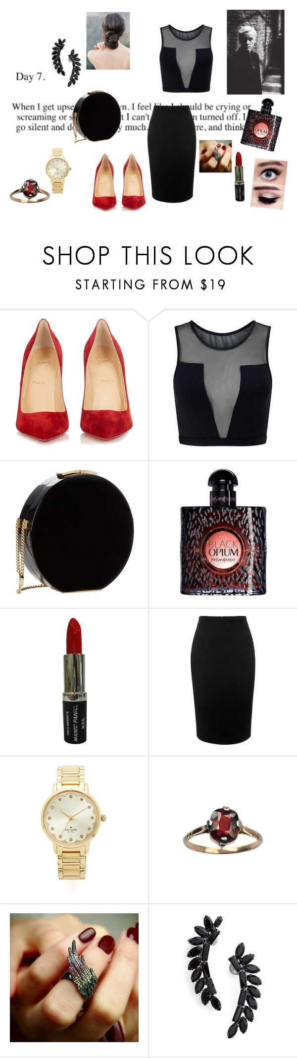"""this is not me.."" by rosesophiawalker ❤ liked on Polyvore featuring Christian Louboutin, Varley, Elie Saab, Yves Saint Laurent, Manic Panic NYC, Alexander McQueen, Kate Spade, AS29 and Cristabelle"