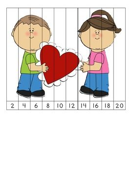Here's a set of 3 different Valentine's themed number order puzzles for skip counting by 2 and 5.