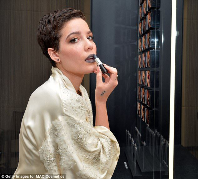 Making a statement: Singer Halsey, 22, designed a grey lipstick for MAC in 2016 for 'those unafraid to stand out'