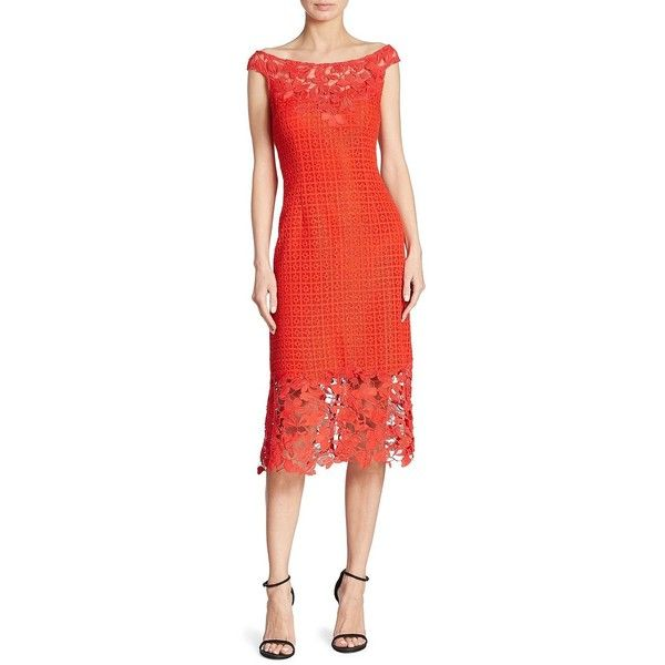 Kay Unger Boat Neck Floral Lace Sheath Dress ($615) ❤ liked on Polyvore featuring dresses, floral lace dress, red sheath dress, lace sheath dresses, red floral dress and floral dresses