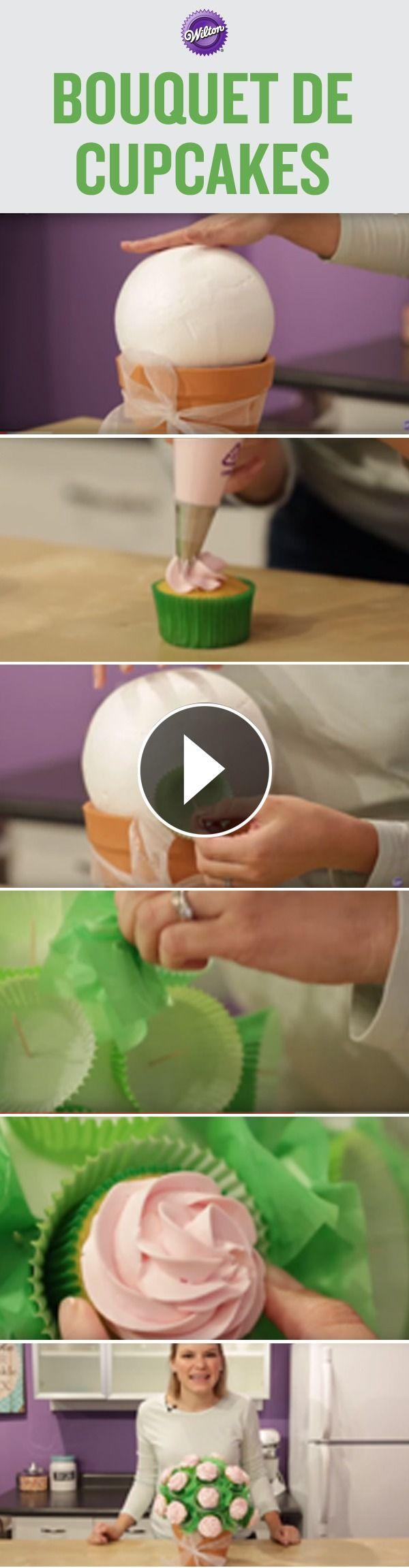 Prepara un delicioso arreglo de flores. En este video aprenderás a decorar cupcakes con un espiral y a como armar un arreglo floral.