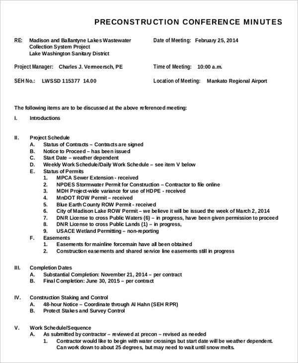 Meeting Minutes Templates 11 Free Printable Excel PDF