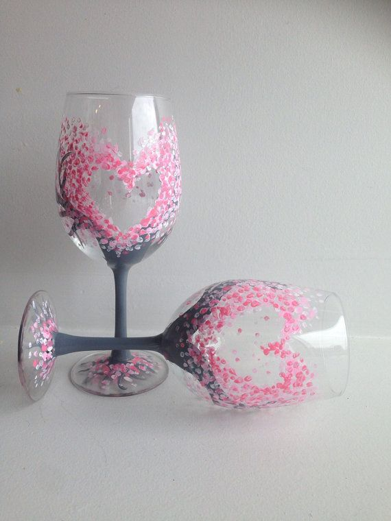 Wedding Glasses Heart Wine Glasses wine glass by MelanieGlucksman
