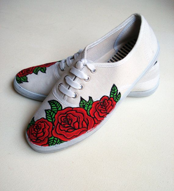 Hand painted Pumps/ Sneakers -  Red Roses - UK 7/ US 9.5/ EU 40- Kezbirdie on Etsy, £55.00