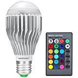 #8: Warmoon E27 LED Light Bulb 10W RGB Color Changing LED Lamp Dimmable with Remote Control