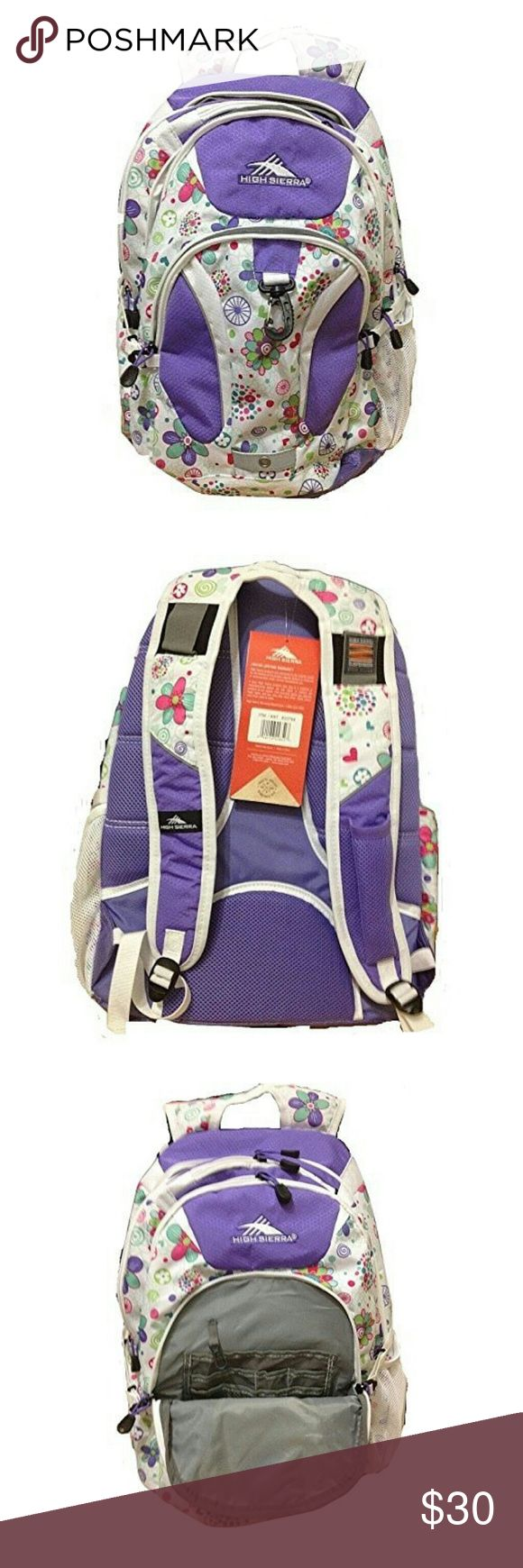 High Sierra Riprap Deluxe Purple Backpack Fits 15in Laptop, and has millions of pockets and nic nacks. These pictures are from amazon (mine doesnt have a tag) but it's clean and flawless. High Sierra Bags Backpacks