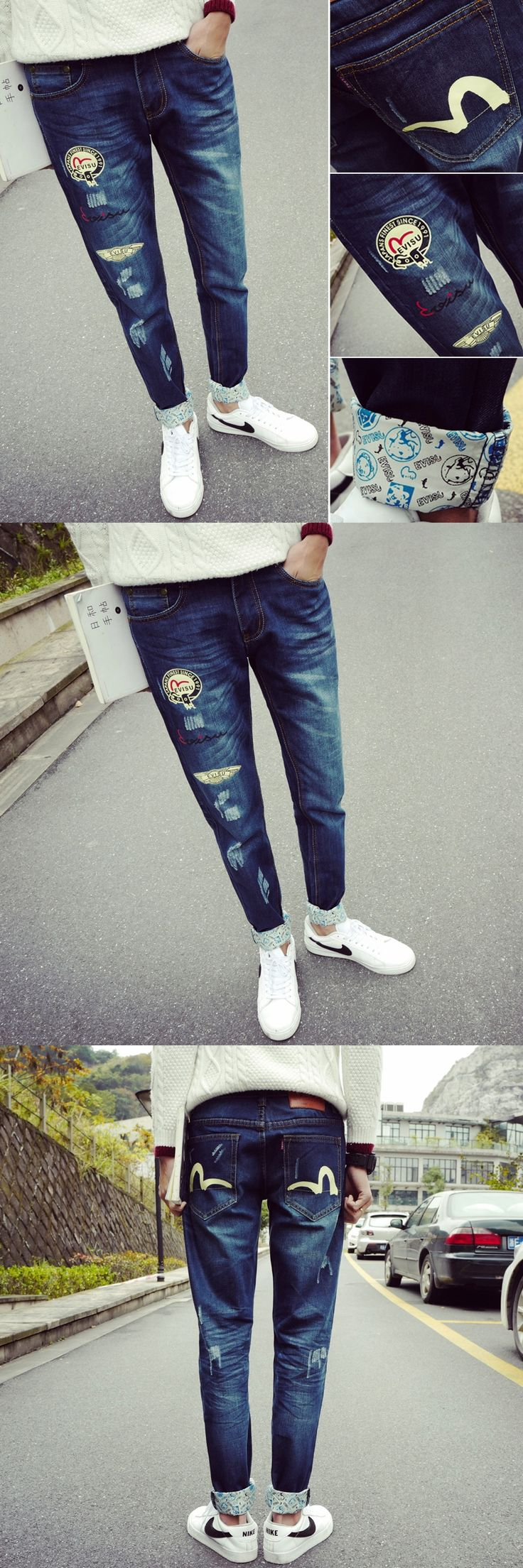 The new tide fashion male feet long pants Han edition cultivate one's morality hole thin jeans