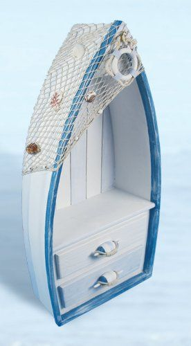 Nautical Distressed Wood Boat Shelf w/ Drawers