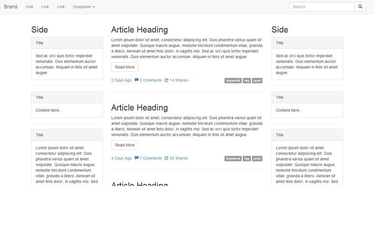 A versatile Bootstrap template with left/right sidebar, main article list and navbar search form. -> portail