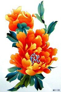 Amazon.com: GGSELL King Horse Waterproof tattoo sticker color yellow flowers and peony: Beauty