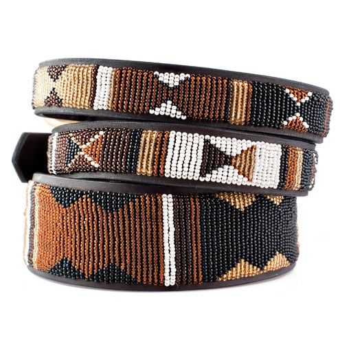 Earth African Beaded Leather Dog Collar | Kenyan Collection Collars at Glamourmutt
