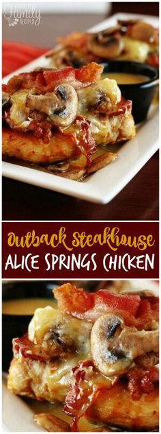 Alice Springs Chicken is the first thing I tried at Outback Steakhouse and I fell in love. It's a yummy cheesy, bacon and mushroom delicious hot mess.