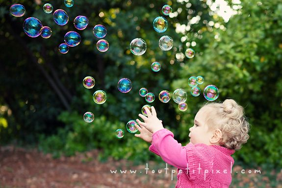 I've done bubble shoots with my daughter before (and we've currently been playing with them a lot in the yard), but this blog post from Inspire Me Baby gave some good tips.