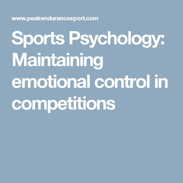 Sports Psychology: Maintaining emotional control in competitions