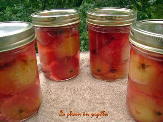 La meilleure recette de ~Pommettes dans le sirop~! L'essayer, c'est l'adopter! 4.0/5 (1 vote), 0 Commentaires. Ingrédients: INGRÉDIENTS:  7 à 8 tasses de pommettes à gelée (Crab Apple) 2 bâtons de cannelle  4 clous de girofle 3 1/2 tasses d'eau 5 tasses de sucre