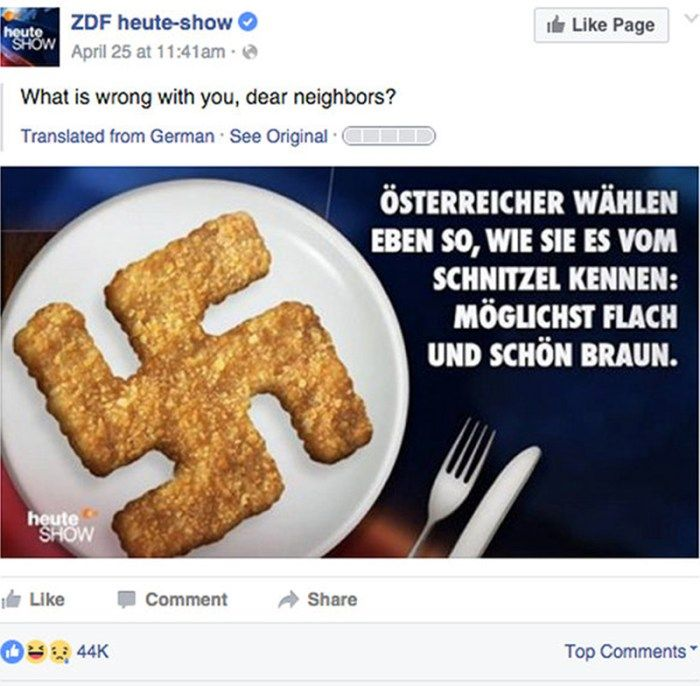 Swastika schnitzel (Hackenkreuzschnitzel) by the satirical TV show 'Heute Show' on ZDF. Posted on April 25th 2016 on Facebook.