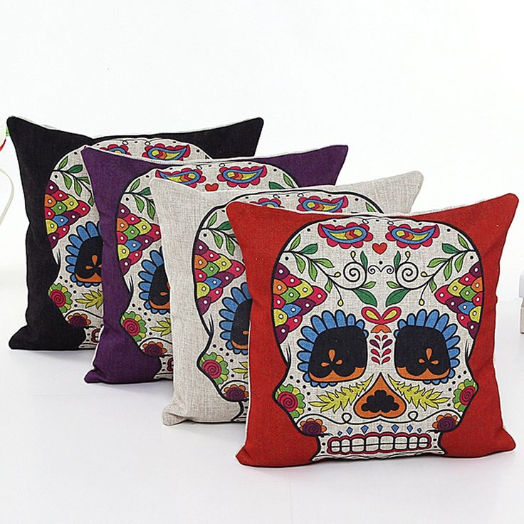 Sugar Skull Linen Pillow Cushion Covers  - Click The Image To Buy This Shirt, Don't forget to share with your friends.    Only Sugar Skulls Lovers Would Love!#sugarskulls #mysugarskullscom #mysugarskulls #sugarskull #candyskulls #dayofthedead #diadelosmuertos #sugarskullcostumes #sugarskullhoodies #sugarskullbags #sugarskullshirts #sugarskullwallets #sugarskullrings #sugarskullornaments #mexicanskulls.  CLICK HRE TO BUY IT => http://mysugarskulls.com/?p=2979