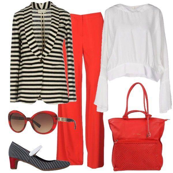 Outfit da ufficio colorato: blusa bianca, in crêpe di seta con chiusura posteriore, pantaloni rossi, di viscosa a gamba ampia, giacca a righe, in misto cotone, collo con revers e un bottone, scarpe Mary Jane, bianche rosse e nere, ampia borsa a spalla, in pelle rossa, occhiali a lenti ovali, rossi.