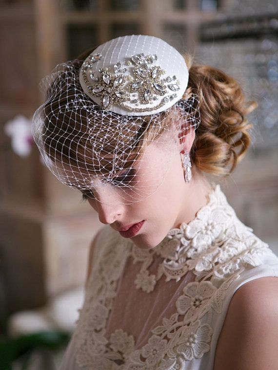 Crystal Bridal Head piece, Ivory and Crystal Bridal Fascinator with Birdcage Veil STYLE 121 from Gilded Shadows