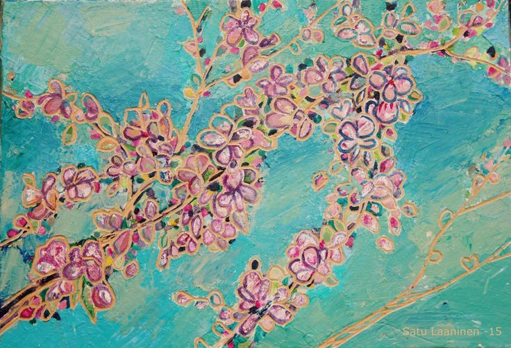Cherry blossom, acrylic painting and woodcut into MDF.