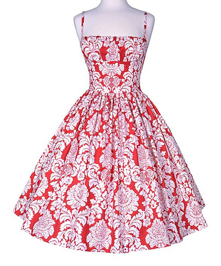 Take a look at this Bernie Dexter Red Damask Spaghetti Strap Fit & Flare Dress today!
