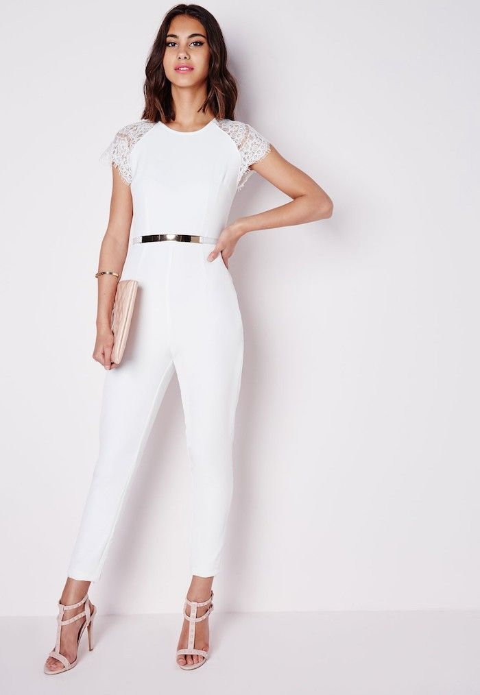 77e6df46b57 Salopette femme chic tenue tout blanc adorable tenue pour baptême femme  combinaison blanche