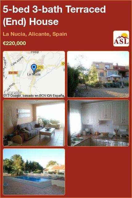 5-bed 3-bath Terraced (End) House in La Nucia, Alicante, Spain ►€220,000 #PropertyForSaleInSpain