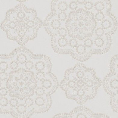 Odetta (111177) - Harlequin Wallpapers - A stunning lace-inspired emblem, understated yet dramatic in a hand printed effect with subtle gold metallic ink. Shown here in the jute colour way. Other colour ways available. Paste the wall product. Please request a sample for true colour match.