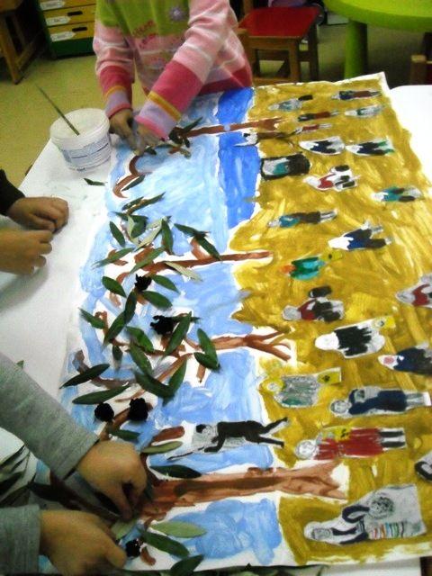 """1ο Νηπιαγωγείο Ηρακλείου Αττικής: Εικαστική δημιουργία εμπνευσμένη από τον πίνακα """"Το μάζομα των ελαιών εν Μιτυλήνη"""""""