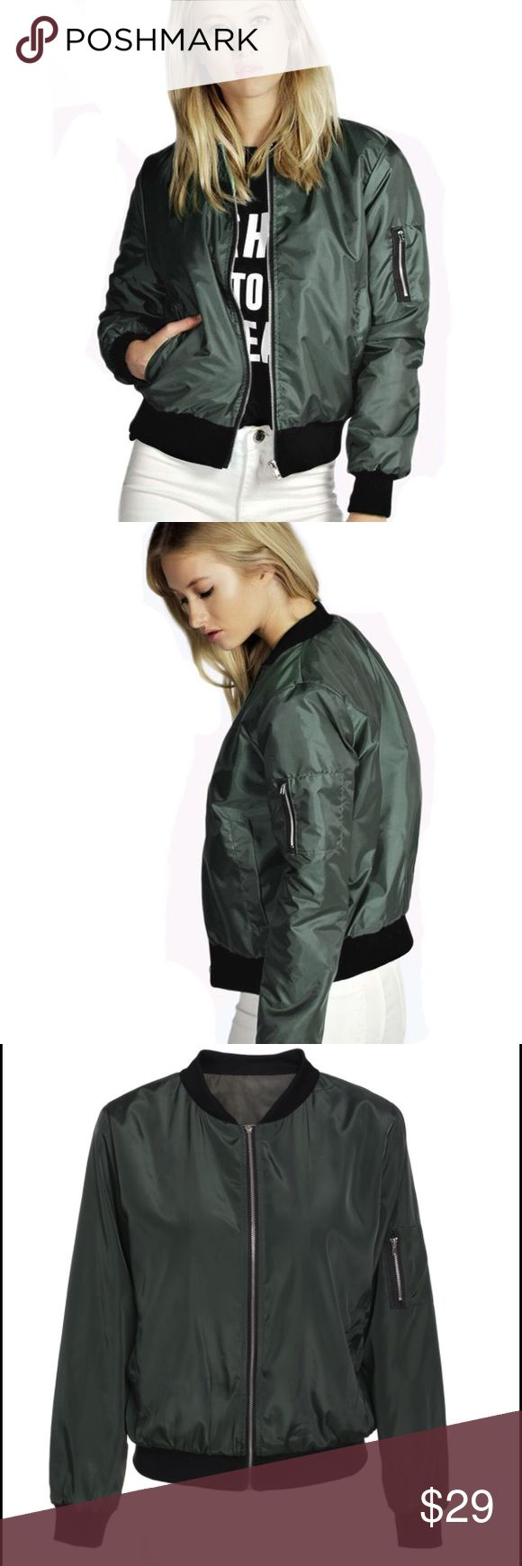 Army Green Lightweight Bomber Jacket Brand new! Lightweight, perfect for summer or for autumn with your favorite hoodie underneath. Ships same day if ordered by 10:00 CST. Combine 3 items for 15% discount. Jackets & Coats