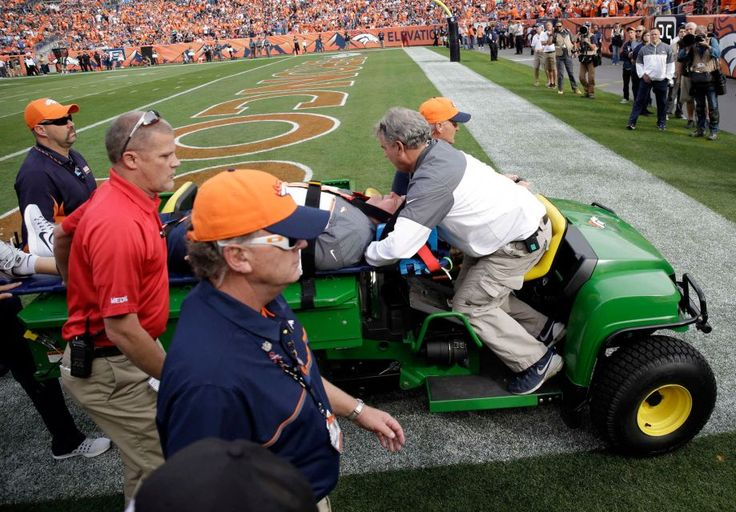 Chargers vs. Broncos:  October 30, 2016  -  27-19, Broncos  -     Denver Broncos defensive coordinator Wade Phillips is carted off the field after being run into by a player while on standing on the sidelines during the first half of an NFL football game against the San Diego Chargers, Sunday, Oct. 30, 2016, in Denver.