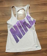 Nike Womens Tank TOP Shirt White M DRI FIT | eBay