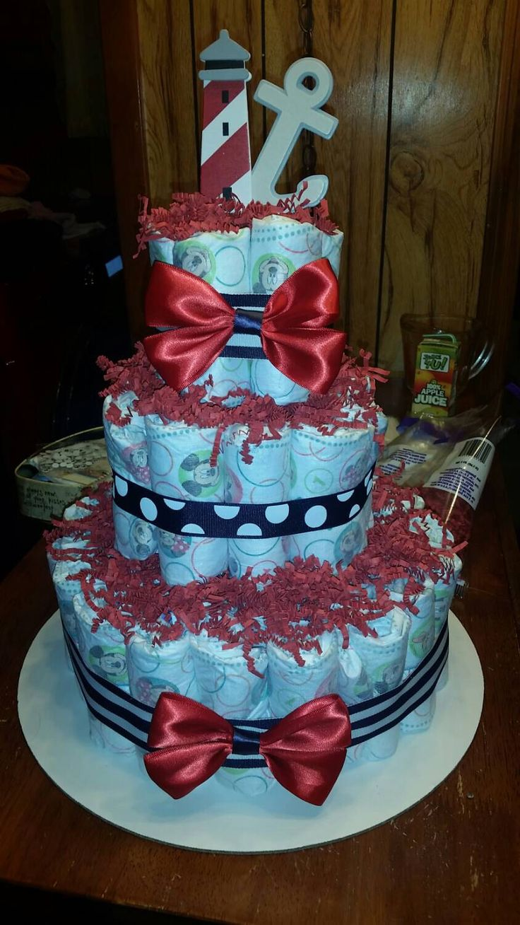 A personal favorite from my Etsy shop https://www.etsy.com/listing/226886888/sailor-diaper-cake-baby-boy-or-girl-so