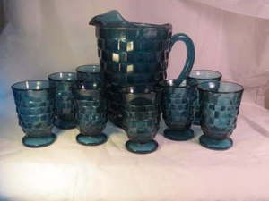 Vintage indiana glass pitcher drinking juice glasses for Whitehall tattoo supply