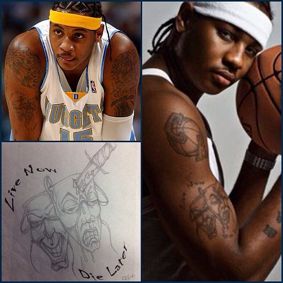 "custom work on carmelo anthony 'live now die later"" from ray one of the great artist at island city tattoos"