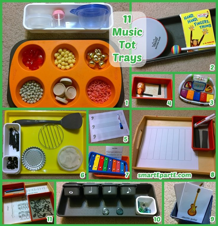11 music themed trays and activities for tot school and preschool! Links to free printables and inspiration are on the post.