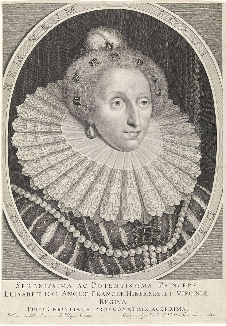 Hendrick Hondius (I)   Portret van Elizabeth I Tudor, koningin van Engeland, Hendrick Hondius (I), 1632   Buste naar rechts van Elizabeth I Tudor, koningin van Engeland op 48-jarige leeftijd in een ovale omlijsting met randschrift in het Latijn. Onder het portret vier regels in het Latijn.