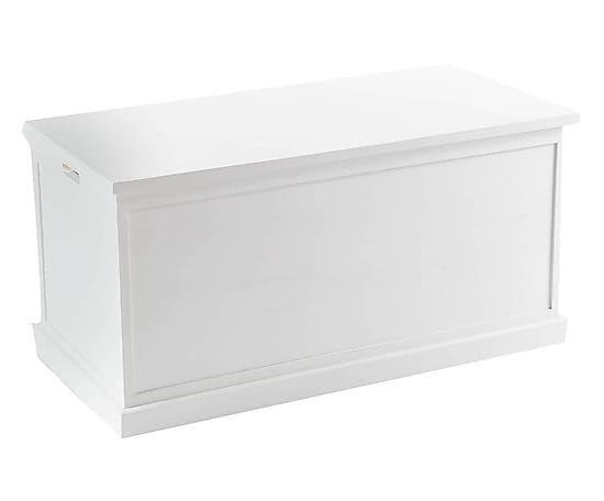 Baule in legno bianco Olivia, 100x50x50 cm