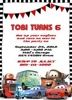 Cars Birthday Invitation Template http://printableinvitationkits.com/disney-cars-birthday-invitation/